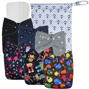 washable diapers with wet bag