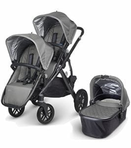 double stroller with infant carry cot