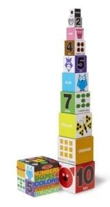 stacking and nesting blocks with colors and numbers