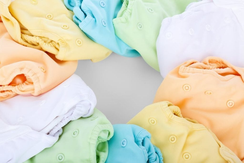 cloth diapers in pastel colors