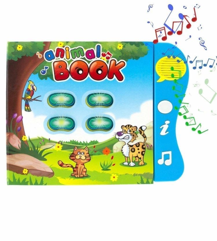 Includes 4 fun learning activities, 8 pages featuring 32 animals, 90+ sounds and melodies; comprehensive animal-themed activity book for baby development
