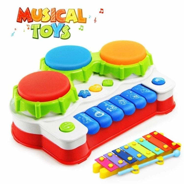Xylophone Hand Drum Christmas Birthday Gift with Flash Lights