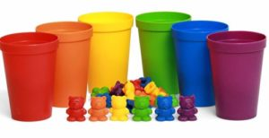 counting and sorting toy with bears and cups