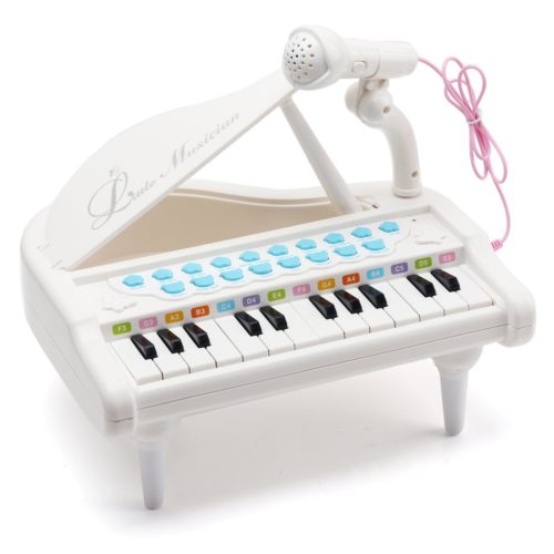 White Electronic Musical Instrument Multi-function with Microphone for Toddlers