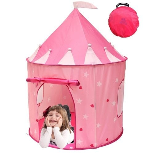 Pink Play Tent with toddler girl inside