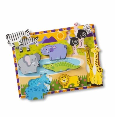 wooden puzzle toy with animals - kids puzzle