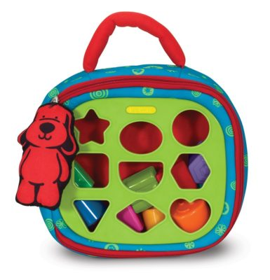 Baby Toy With 2-Sided Activity Bag and 9 Textured Shape Blocks