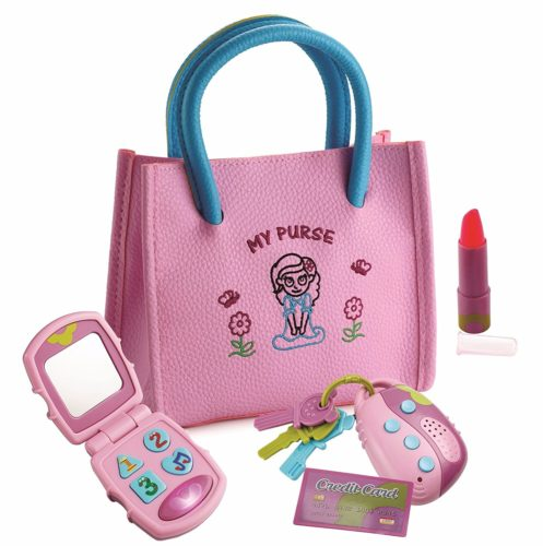 Purse Set for Girls with Handbag, Flip Phone, Light Up Remote with Keys, Play Lipstick & Kids Credit Card