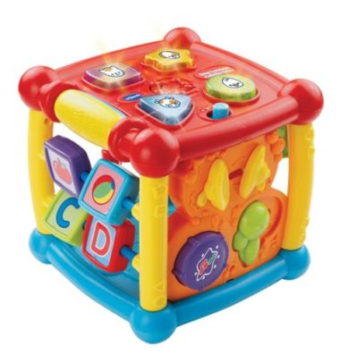 baby toy Activity Cube - red and yellow in colour