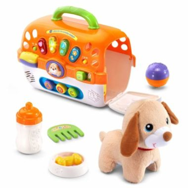 learning carrier toy with soft plush puppy - orange in colour