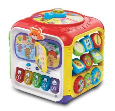 toy cube with activity games and buttons