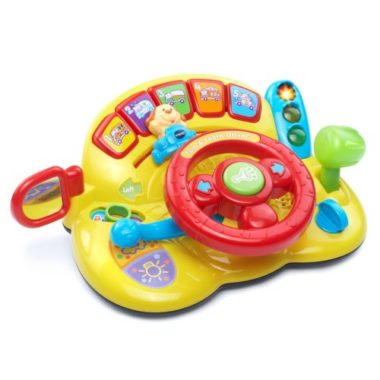 baby car toy steering wheel with buttons - yellow