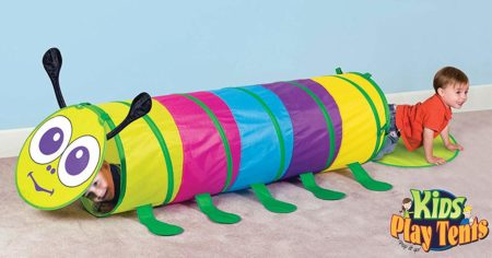 toddler boy playing with a Kids Pop up Caterpillar Play Tent