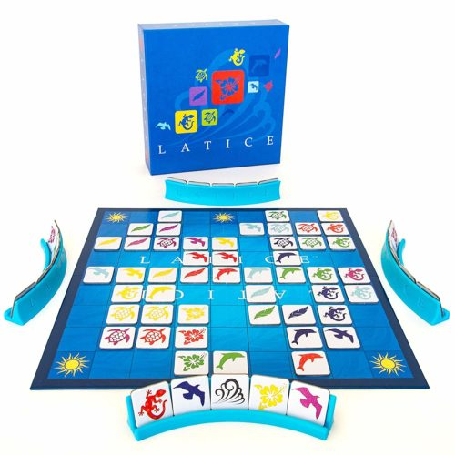 Latice board game in play with board setup