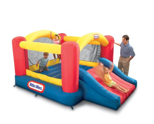 outdoor Jump 'n Slide Bouncer with kids playing on it