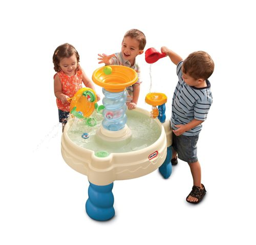 2 toddlers playing with Water play table