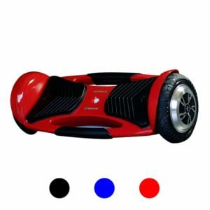 red hoverboard with black wheels and silver rims