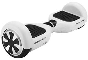white hoverboard with black wheels