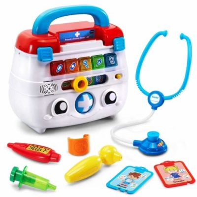toy stethoscope, otoscope, bandage, syringe and thermometer