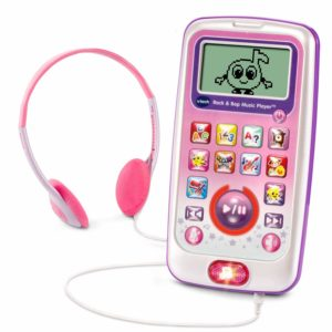 music player in pink with headphones. designed for toddlers