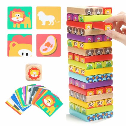 Colored Wooden Blocks with cards