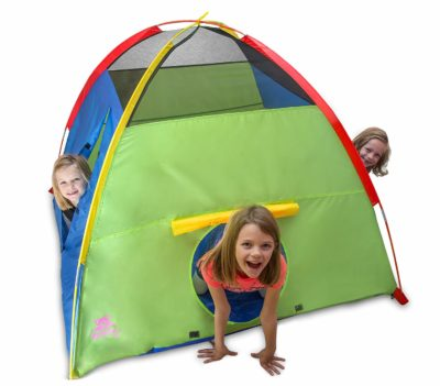 3 girls playing in a Play Tent and Playhouse