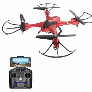 red drone with camera remote