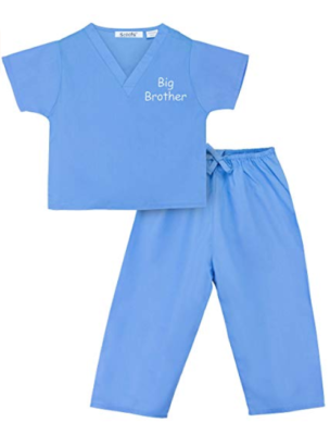 "This is an image of a blue scrub suit with ""big brother"" embroidery."