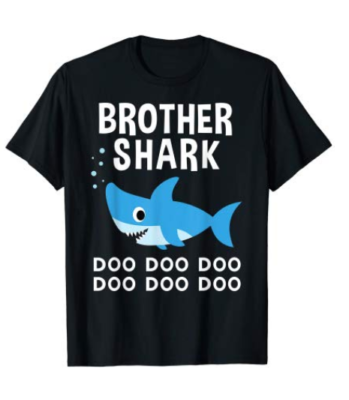 This is an image of a black t-shirt with brother shark doo doo print.