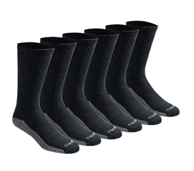 This is an image of a 6 pair black crew socks for men.