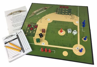 This is an image of a baseball board game with score sheet and manual.