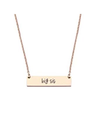 This is an image of a rose gold big sister bar necklace.