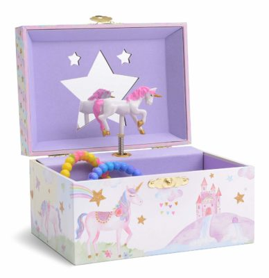 This is an image of a musical unicorn jewelry box.