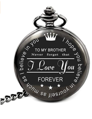 This is an image of a black engraved pocket watch with message made for brothers.