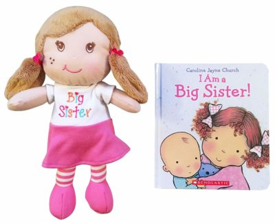 This is an image of a I am a Big Sister doll and book set.