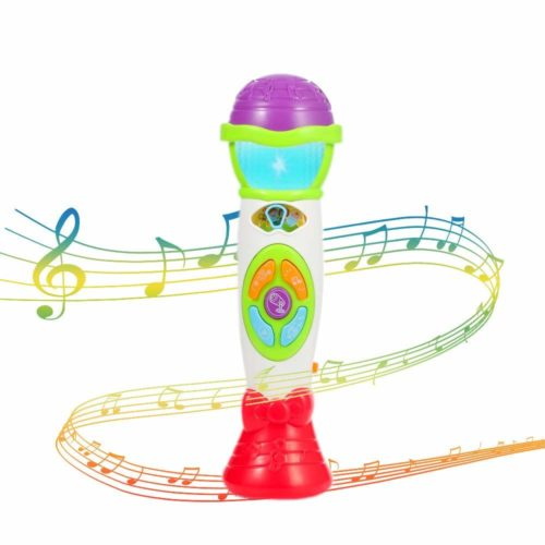 toy microphone with musical floating notes graphics