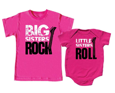 This is an image of a pink siblings shirts for little and big sisters.