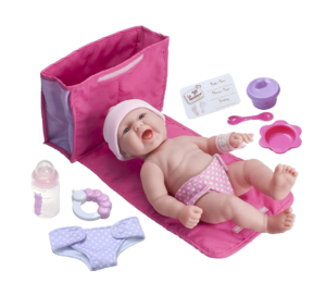 this is an image of a baby doll with accessories