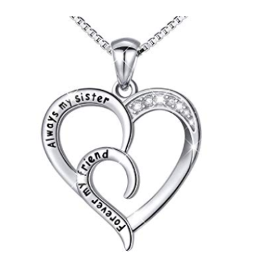 This is an image of a sterling silver heart shaped necklace with message for sisters.