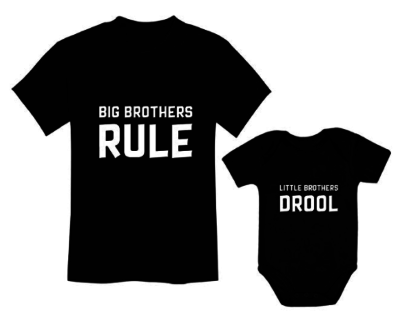 This is an image of a black big brother t-shirt and a black little brother body suit.