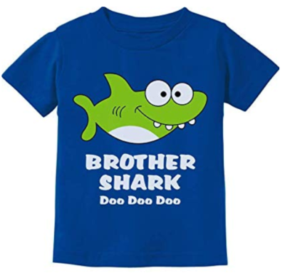 This is an image of a blue brother shark doo doo kid's t-shirt.,