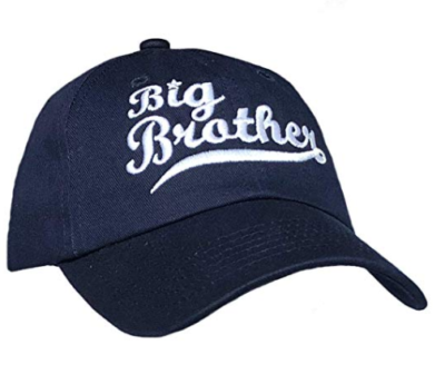 This is an image of a navy blue big brother baseball cap.