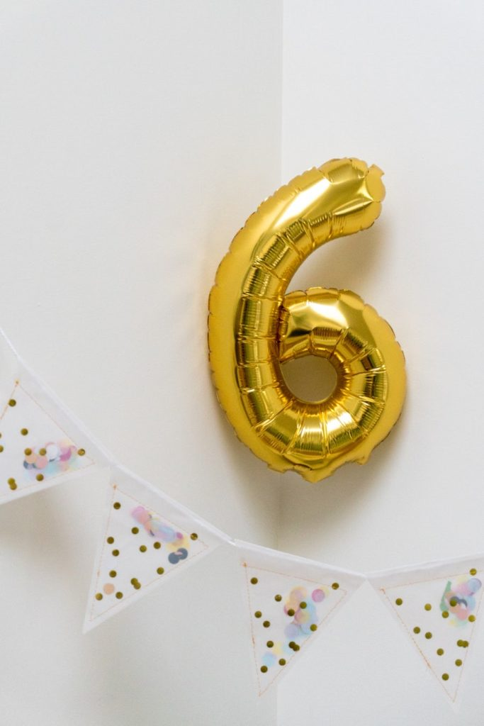 golden number 6 balloon