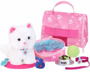 kitten soft toy with carrier and accessories