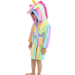 rainbow bath robe with unicorn hood