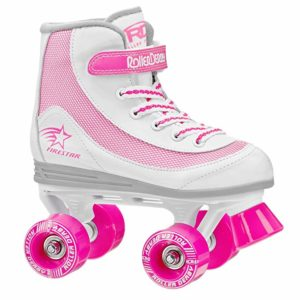 pink and white girls roller skates