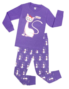 girls purple cat pajamas