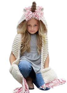 crochet unicorn hat with scarf