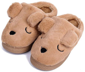 brown dog slippers for toddlers