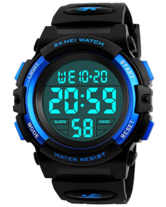 waterproof black kids digital watch